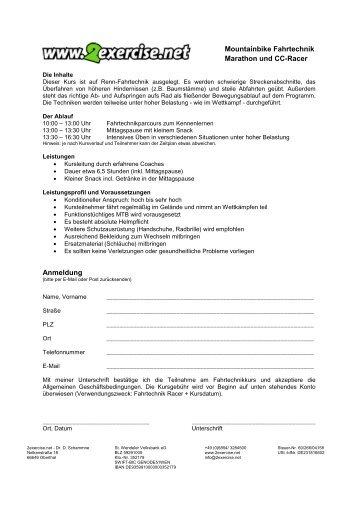Anmeldung Mountainbike Fahrtechnik Marathon und CC ... - 2exercise