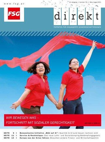 Das aktuelle FSG-direkt (Ausgabe 08/2011) ab sofort als pdf-Datei ...