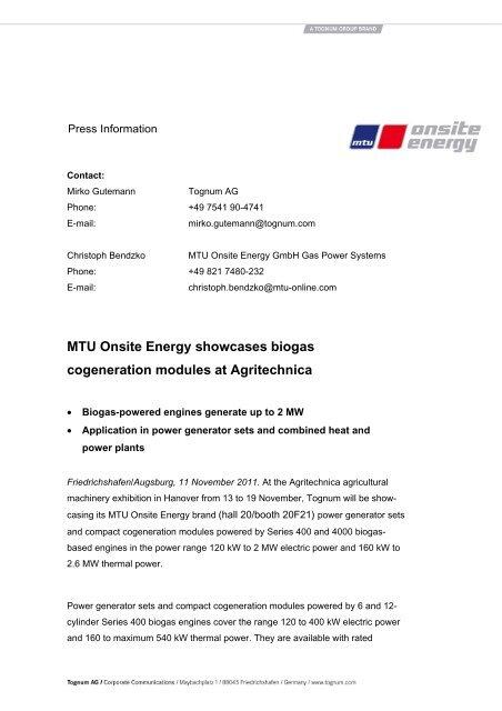 MTU Onsite Energy showcases biogas cogeneration modules at