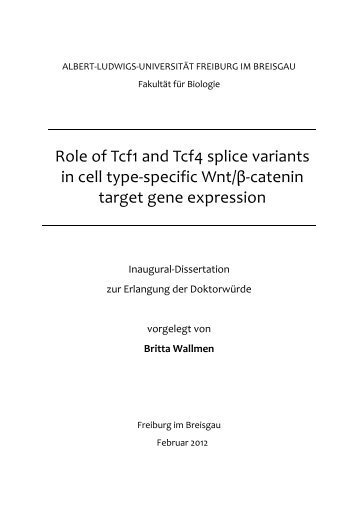 Role of Tcf1 and Tcf4 splice variants in cell type-specific Wnt/β ...
