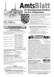 Amts der Verbandsgemeinde Kastellaun und ihrer Ortsgemeinden ...