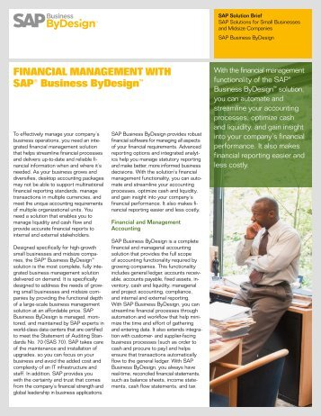 FINANCIAL MANAGEMENT WITH SAP® Business ByDesign™