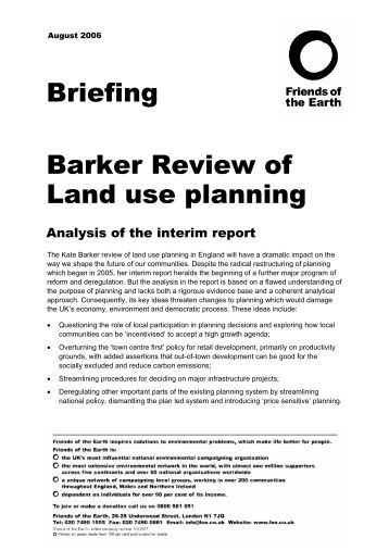 Barker Review of Land use planning - Friends of the Earth