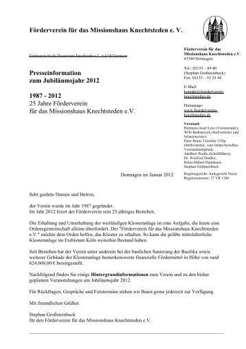 Förderverein für das Missionshaus Knechtsteden e. V ...
