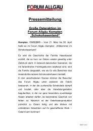 Pressemitteilung Ostern 2013 - Forum Allgäu, Kempten