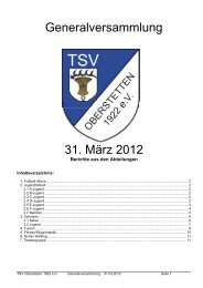 Generalversammlung 31. März 2012 - TSV Oberstetten