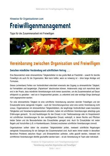 Muster für Vereinbarung mit Freiwilligen - Freiwilligenagentur ...