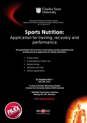 Sports Nutrition: - Australian Fitness Network