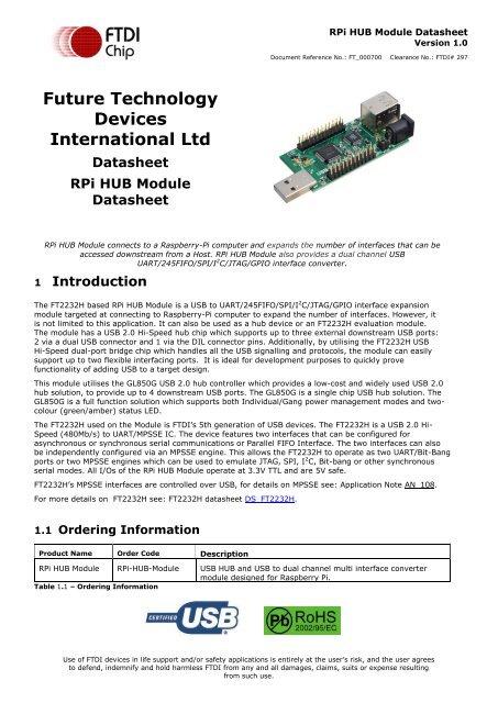 RPi HUB Module Datasheet - FTDI