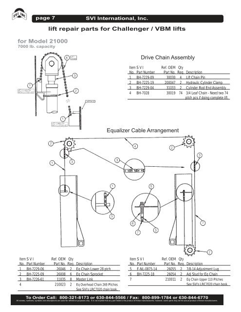 page 6 for Model 21000 70 Vbm Challenger Lifts Wiring Diagrams on