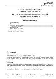 Achtung! - Iseg High Voltage