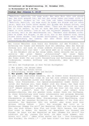 22.11 Johannes 5, 24-29 Ewigkeitssonntag (PDF) Pfr