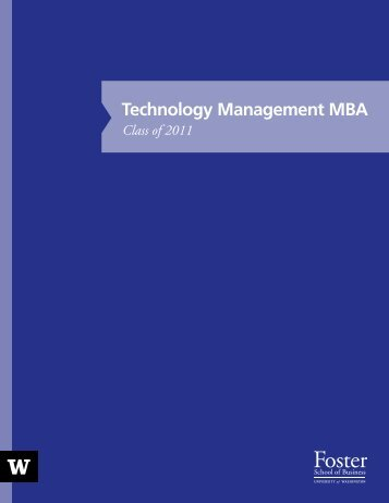 Technology Management MBA - University of Washington Foster ...