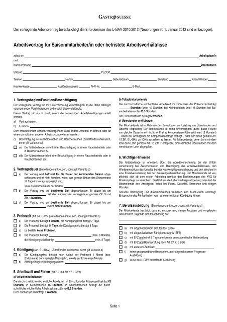 Arbeitsvertrag Für Vollzeit Und Teilzeitbeschäftigte Gastrosuisse