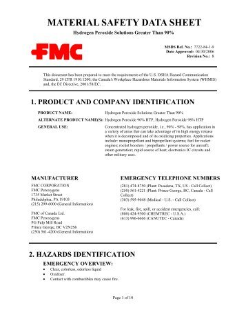 Hydrogen Peroxide Solutions Greater Than 90 Fmc Corporation