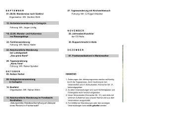 Wanderplan 2013 - September bis Dezember/ PDF