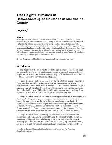 Tree Height Estimation in Redwood/Douglas-fir Stands in ...
