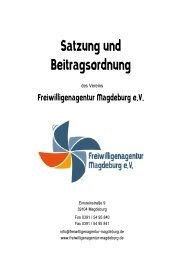 Satzung und Beitragsordnung der Freiwilligenagentur Magdeburg e.V.