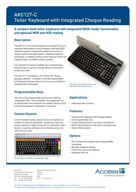 Motorised cheque reading keyboard datasheet - Access IS