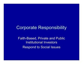 Corporate Responsibility - Forest Trends