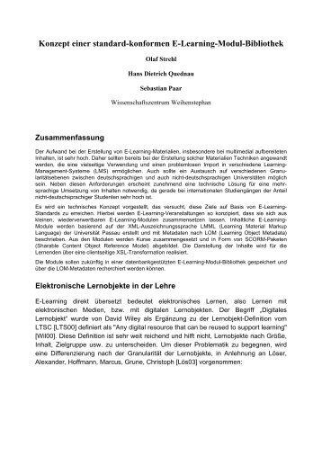 Konzept einer standard-konformen E-Learning-Modul-Bibliothek