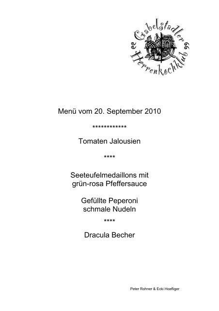 Menü vom 20. September 2010 ************ Tomaten Jalousien ...