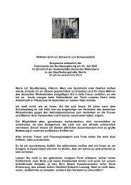 Wilhelm Graf von Schwerin von Schwanenfeld Ansprache anlässlich ...