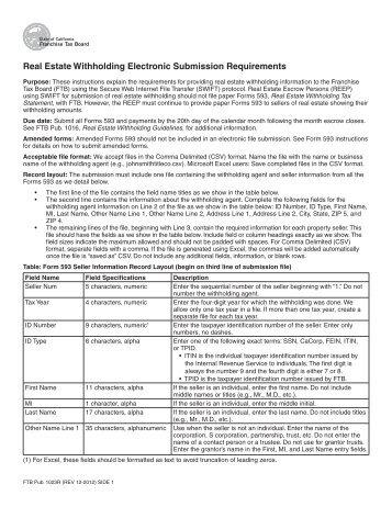 FTB Pub 1023R - California Franchise Tax Board - State of California