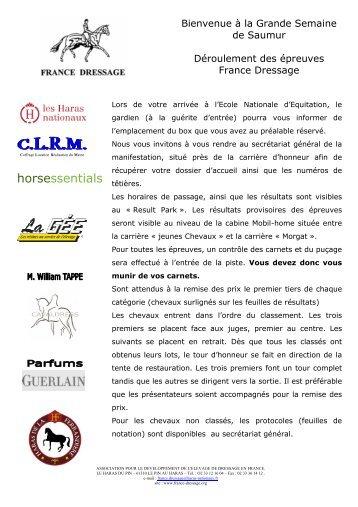Déroulement des Epreuves (pdf) - France Dressage