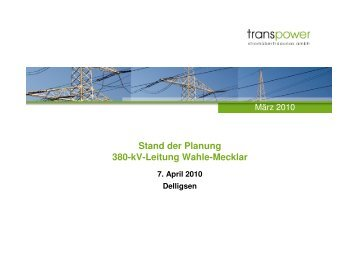 Stand der Planung 380-kV-Leitung Wahle-Mecklar
