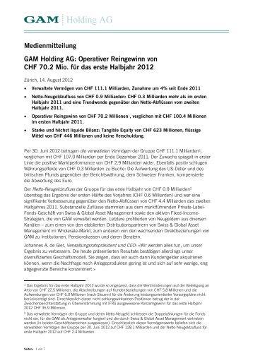 Operativer Reingewinn von CHF 70.2 Mio. für ... - GAM Holding AG