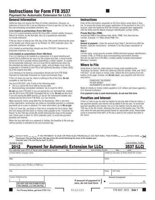 Instructions for Form FTB 3537 - California Franchise Tax Board