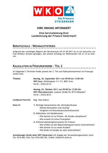 Arbeitsvertrag Friseur Innung