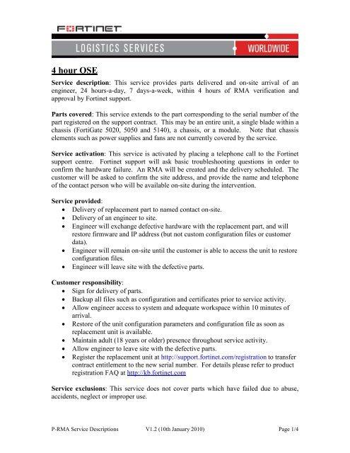 Download Premium RMA Brochure - Fortinet