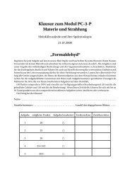"""Klausur zum Modul PC-3-P Materie und Strahlung """"Formaldehyd"""""""