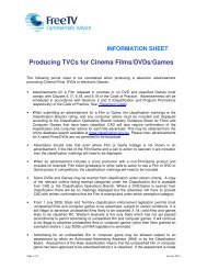Producing TVCs for Cinema Films/DVDs/Games - Free TV Australia