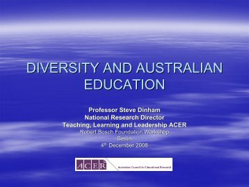 DIVERSITY AND AUSTRALIAN EDUCATION - Forum Bildung