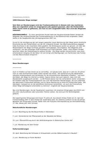 Pressebericht-Frankenpost 23.01.2007 - Frankenwaldverein