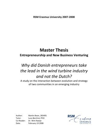 Master Thesis - Nordic Folkecenter for Renewable Energy