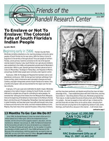 Friends of the Randell Research Center, Vol.6, No.2 - Florida ...
