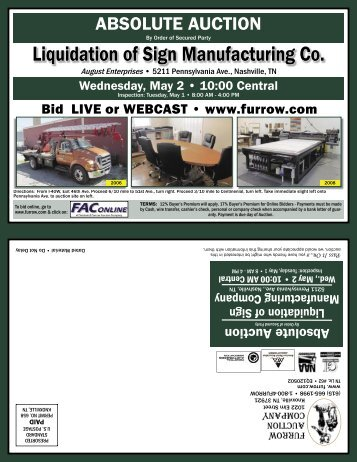 Liquidation of Sign Manufacturing Co. - Furrow Auction Company