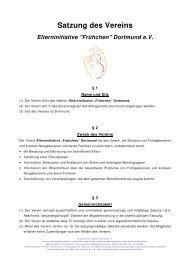 Satzung des Vereins - Frühchen Dortmund eV