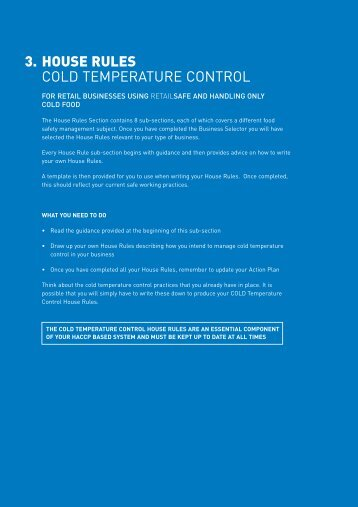 3. HOUSE RULES COLD TEMPERATURE CONTROL