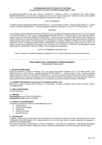 ai sensi dell'art. 10 comma 3 del DPR 26 ottobre 2001 ... - Cariparma
