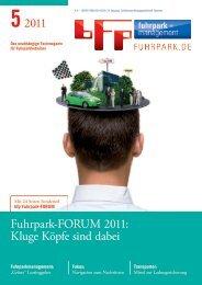 52011 Fuhrpark-FORUM 2011: Kluge Köpfe sind dabei - fuhrpark.de ...
