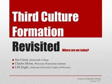 Third Culture Formation Revisited - Forum on Education Abroad