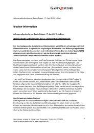 Medienmitteilung Jahresmedienkonferenz - GastroSuisse