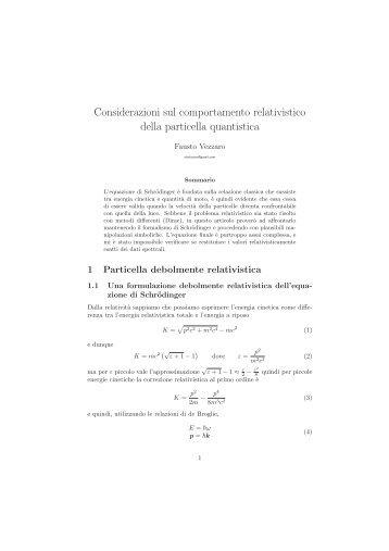 meccanica quantistica relativistica pdf