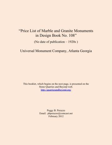 """Price List of Marble and Granite Monuments in Design Book No. 108"""