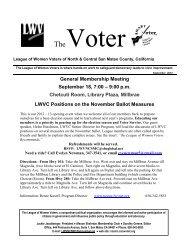 General Membership Meeting September 18, 7:00 - League of ...